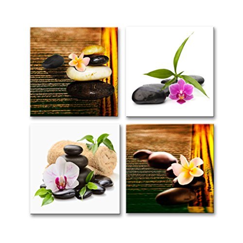 Yang Hong Yu - Canvas Prints Orchid Flower and Stones Photos on Canvas Wall Art Stretched and Framed Modern Decor Paintings Giclee Artwork for Home Decoration 12x12inch