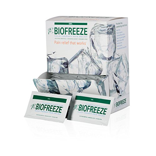 Biofreeze Pain Relief Gel for Arthritis, Fast Acting Cooling Pain Reliever for Muscle Pain, Joint Pain, and Back Pain, 5mL Packet, 100 Count, Topical Analgesic, Original Green Formula, 4% ()