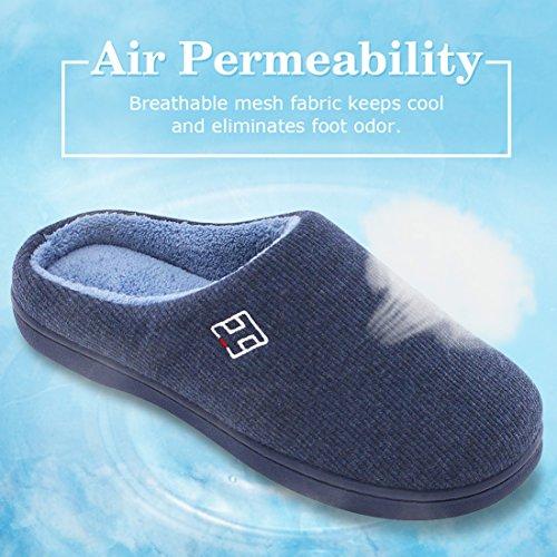 Homeideas Mens Classic Memory Foam Peluche Pantofole Di Casa, Primavera Estate Traspirante Indoor / Outdoor Scarpe Blu Navy