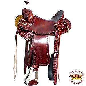 HILASON 15 Western Big King Wade Ranch Cowboy Trail Roping Saddle Mahogany