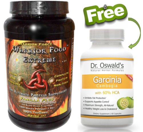 Healthforce WARRIOR FOOD Extreme - Vanilla Plus - 1000 g Powder Plus FREE Garcinia Cambogia (Extreme Vanilla Extract)
