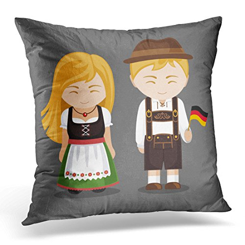 UPOOS Throw Pillow Cover Germans in National Dress with Flag Man and Woman Traditional Bavarian Costume Travel to Germany People Decorative Pillow Case Home Decor Square 18x18 Inches Pillowcase