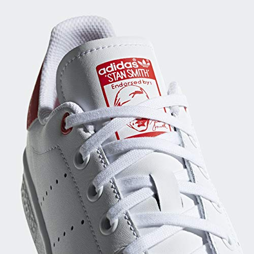 adidas Originals Kid's Stan Smith Fashion Sneakers, Footwear WhiteFootwear WhiteActive Red, 5.5 M US Little Kid