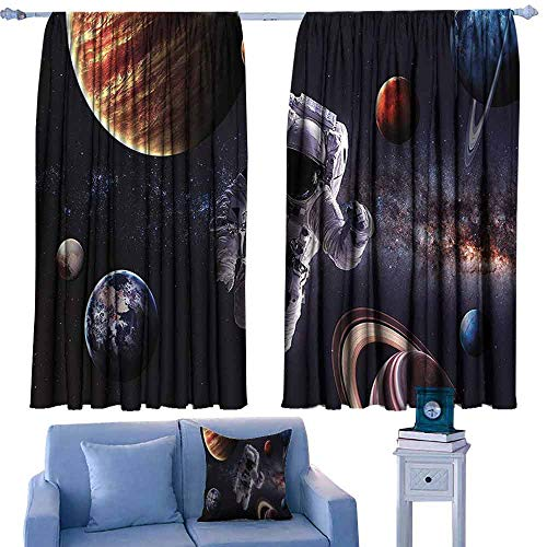 Customized Curtains Outer Space Decor Astronaut Between Planets Mars Neptune Jupiter Plasma Ethereal Sphere Picture Noise Reducing 63