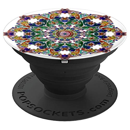 (Rainbow Stained Glass Mandala White Cute Women - PopSockets Grip and Stand for Phones and Tablets )