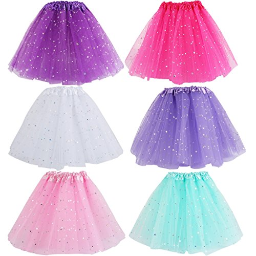 kilofly 6pc Girls Ballet Tutu Kids Birthday Princess Party Favor Dress Skirt Set ()