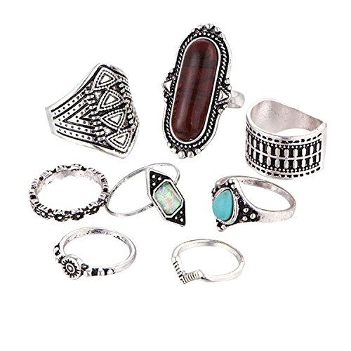 Sumen Hot Sale 8PCS Vintage Women Girls Boho Crystal Flower Knuckle Ring 2018 New Rings Set