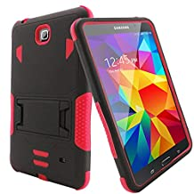 Samsung Galaxy Tab 4 8-inch Case - Bvgande [Todt Series] [Full Body Heavy Duty] Hybrid Rugged Protective Case Built-in Kickstand Cover, Dual Layer Design/Shock Resistant Bumper Protection (Black/Red)
