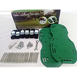 """Lawn Aerator Sandals, Turf Aerating Shoes, 2"""" (50mm) metal spikes (+1 EXTRA SPIKE), 27 METAL WASHERS, 3 SUPER TOUGH Nylon straps per sandal, HEAVY DUTY metal (Zinc Alloy),"""