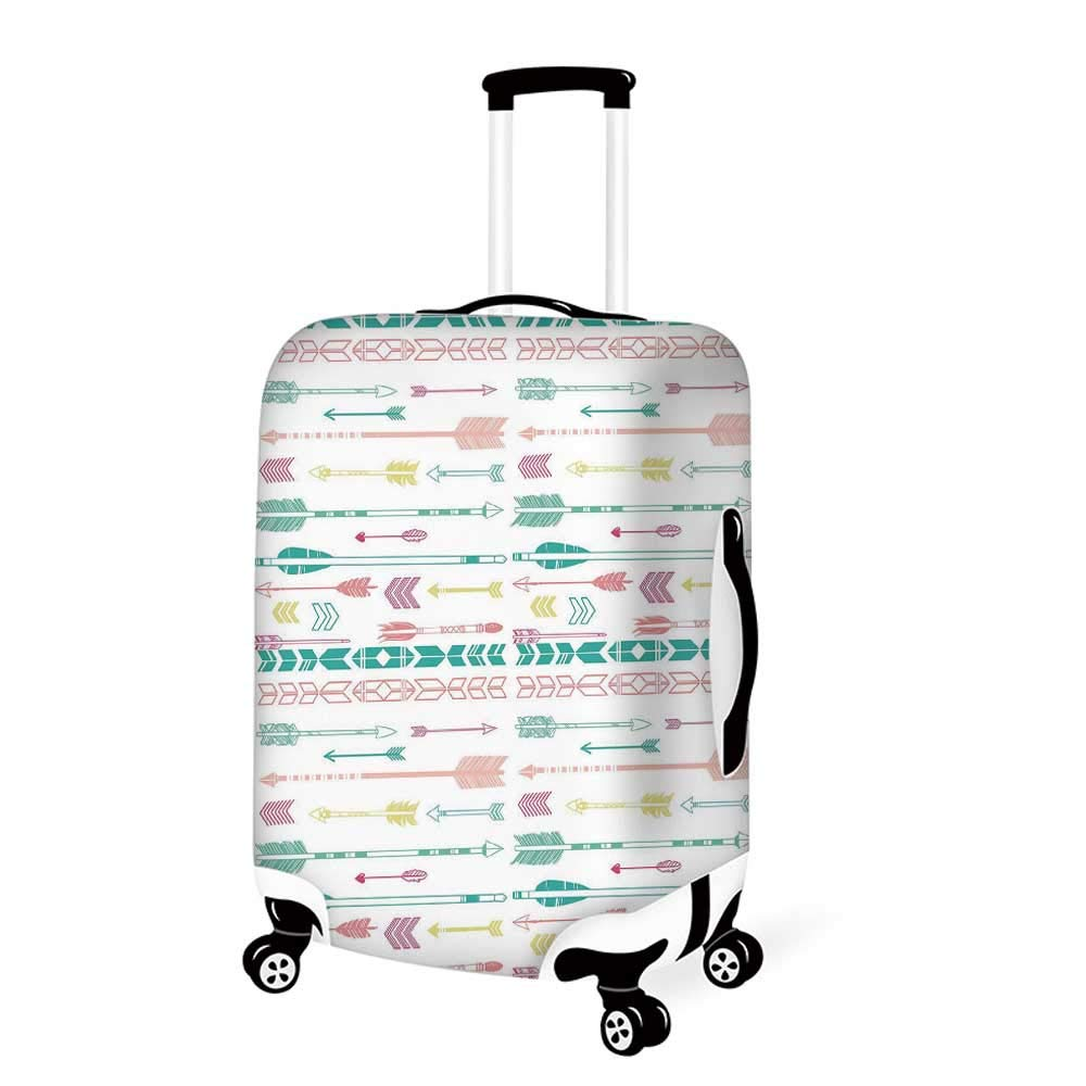26.3W x 30.7H Dragonfly Stylish Luggage Cover,Bohem Modern Ethnic Inspired Minimalist Bugs and Flowers Print Decorative for Luggage,L
