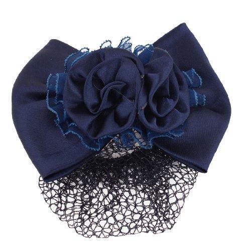eDealMax Bleu Marine Double Rose Dcor Snood Net cheveux Clip Hairnet Barette Pour les Femmes