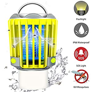 RUNACC Camping Bug Zapper LED Flashlight – Portable IP66 Waterproof Outdoor Tent Light Camp Lamp with 2200mAh Rechargeable Battery, SOS Emergency Warning Lighting