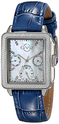 GV2 by Gevril Bari Multi Womens Diamond Chronograph Swiss Quartz Rectangle Blue And White Leather Strap Watch, (Model: 9211) (Diamond White Leather Watch)