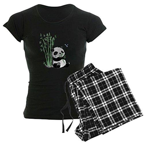 CafePress - Panda Eating Bamboo Women's Dark Pajamas - Womens Novelty Cotton Pajama Set, Comfortable PJ -