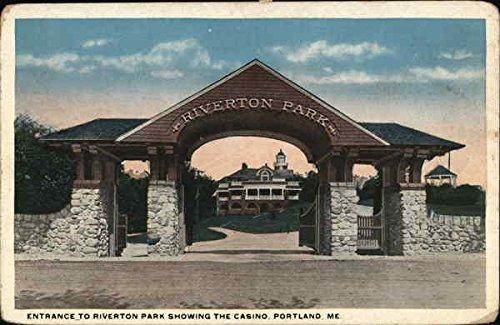 Entrance to Riverton Park, Showing the Casino Portland, Maine Original Vintage Postcard from CardCow Vintage Postcards