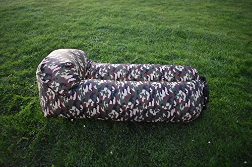 hikeXplore Inflatable Lounger Portable Air Sofs Bed for Travelling, Camping, Beach, Park (Army) (Bed Sofs)
