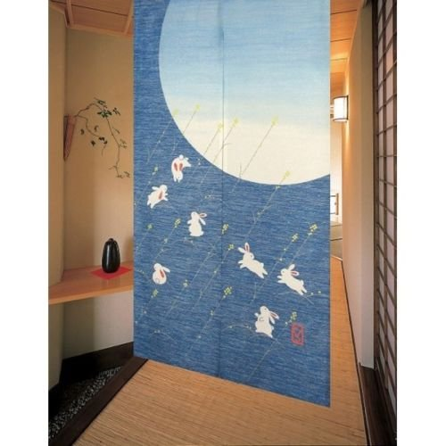 Matsumoto Shoji noren(Japanese curtain) Rabbits Blue from Japan 11941