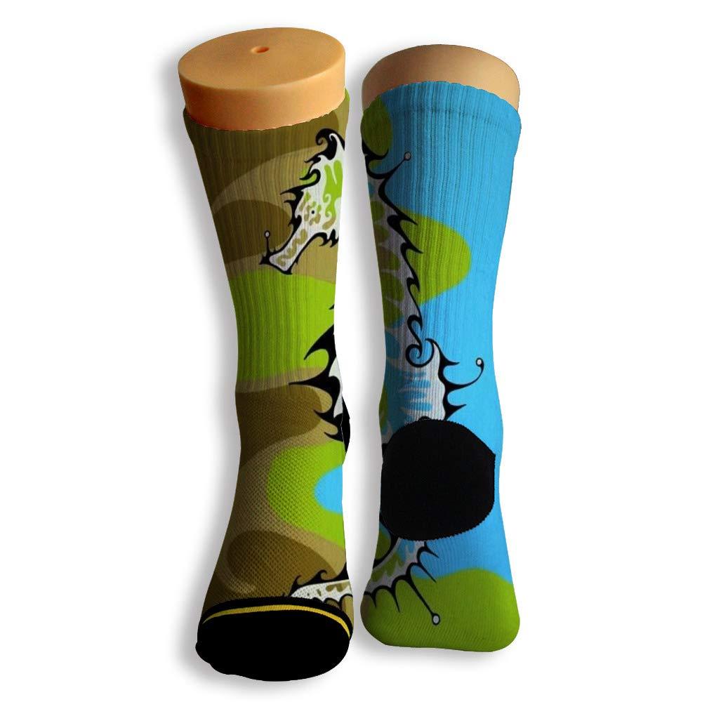Basketball Soccer Baseball Socks by Potooy Swimming Seahorse 3D Print Cushion Athletic Crew Socks for Men Women