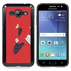 """Qstar Arte & diseño plástico duro Fundas Cover Cubre Hard Case Cover para Samsung Galaxy J2 / J200 (Insectos monstruo rojo del empuje"""")"""