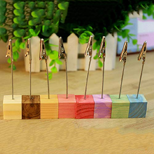 SaveStore Color Cube Stand Alligator Wire Desk Card Note Picture memo Photo Clip Holder Table Wedding Party Place Favor Personalized Gift (Cards Wedding Playing Favors Personalized)