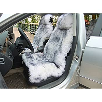 1 Piece Australia Sheepskin Car Seat Covers Real Fur Interior Accessories Cushion Newest Winter Stylish Plush Cover By Okayda Gray Tips