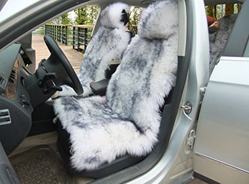 (OKAYDA 1 Piece Australia Sheepskin Car Seat Covers Real Fur Car Interior Accessories Cushion Newest Winter Stylish Plush Car Seat Cover Gray Tips)