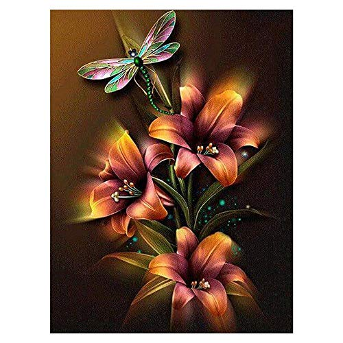 - DIY 5D Diamond Painting Kit by Numbers for Adult Kids, Full Drill Dragonfly Flower Embroidery Painting Dotz for Home Wall Decor Painting Arts Craft