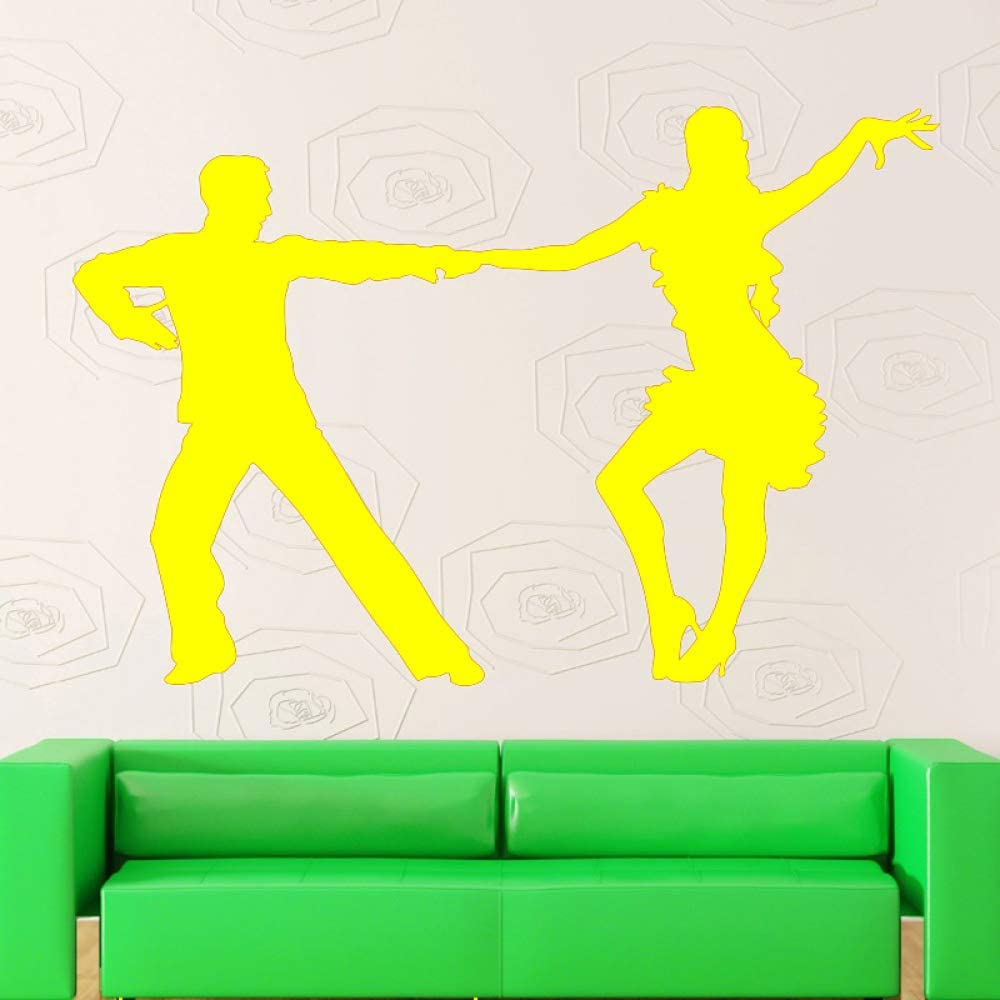 Bailarines latinos Silueta de baile Etiqueta de la pared Chica y hombre Baile Hogar Sala de estar Estilo de la moda Cartel de pared decorativo Mural de vinilo color-2 42x57cm