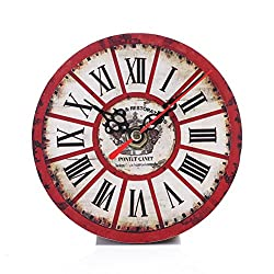 "LiPing 5""Vintage Style Non-Ticking Silent Antique Wood Wall Clock for Home Kitchen Office Wall Clock - Easy To Read & Install Best For Home/Office/School Universal Use, Battery Operated (G)"