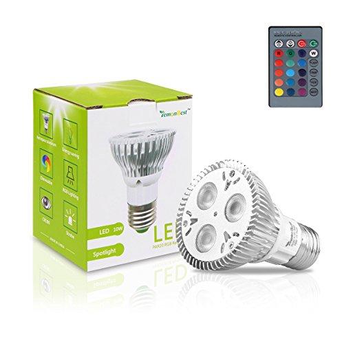 Lemonbest 10W PAR20 RGB LED Light Bulb Spotlight E27 Base 16 Colors Remote Control Stable/Flash/ Strobe Party Mode