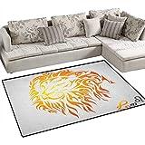 Astrology,Floor Mat,Leo Zodiac Sign on Plain Background Sun Mystic Lion King Self Power Universe Theme,Rugs for Bedroom,Orange Size:40