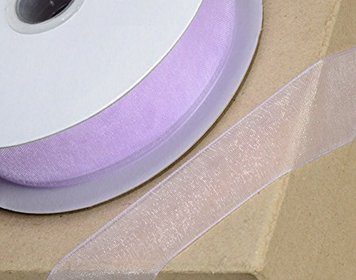 10mm Lilac Woven Edge Organza Ribbon for Crafts - 25m (Woven Mm Edge 10)