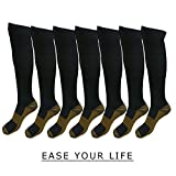 7 Pack Copper Knee High Compression Socks For Men & Women - Best For Running,Athletic,Medical,Pregnancy and Travel -15-20mmHg (L/XL, Black)