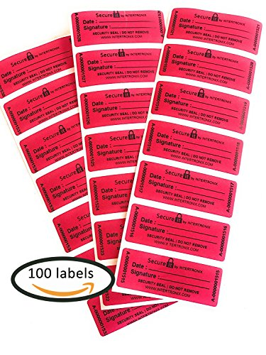 Custom Stickers Seals - 100 SecureIt Customs Stickers -Tamper Evident Stickers -Tamper Proof Stickers -Security Seal -Tamper Resistant Labels - Quality Control -Warranty Void Labels -Unique Sequential Serial Numbering - Red
