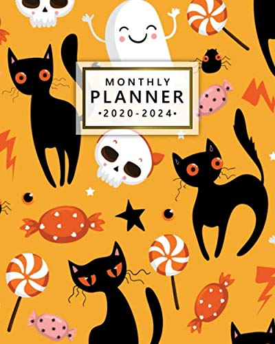 Art Marble 21 Halloween (Monthly Planner 2020-2024: Five Year Monthly Schedule Agenda & Planner   Halloween Cat & Candy 5 Year (60 Months) Spread View Organizer with To-Do's, ... & Inspirational Quotes, Vision Boards)