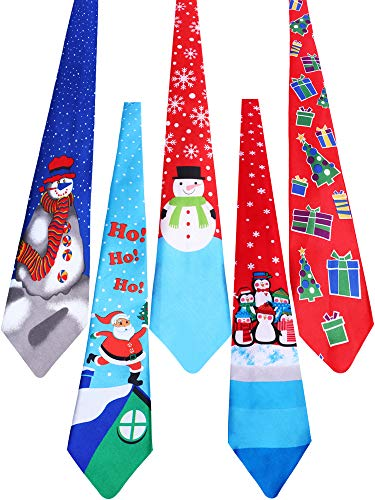 Jovitec 5 Pieces Christmas Tie Men Boys Holiday Necktie for Christmas Party Costume Accessories (Color Set -