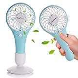 Battery Operated Portable Fans, Tonyhoney Pocket Small Hand Held Mini Personal Fans USB Handheld Fans for Outdoor Travel & Indoor Office Desk (Macaroon Blue)