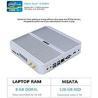 HYSTOU FMP03 Intel Core I3-5005U, Gaming Mini Pc, Mini Desktop Computer,Finless Mini Box PC,Power Interuption Recovery,Support Dual Display,Windows 10 (64 bit) (8GB RAM 128GB SSD)