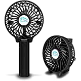 NOVOLAND Mini Electric Portable Hand Fan USB Rechargeable Battery Operated Folding Design for Handheld or Stand on Desk Table Fits Indoor Bedroom Office and Outdoor Travel (Black)