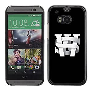 Slim Design Hard PC/Aluminum Shell Case Cover for HTC One M8 S W initials black university black text / JUSTGO PHONE PROTECTOR