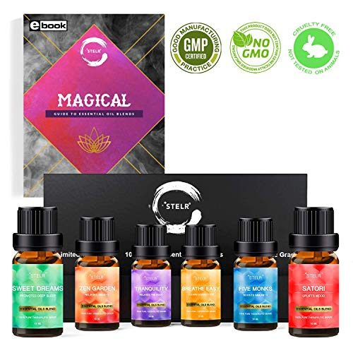 Aromatherapy Essential Oils Blends Gift Set - Pure Therapeutic Grade Synergy Starter Kit: Zen Garden, Sweet Dreams, Breathe Easy, Tranquility, Five Monks, Satori