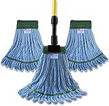 Microfiber Wet Mop Kit - (3) Premium Blue Microfiber Wet Mops & (1) Fiberglass Wet Mop Handle
