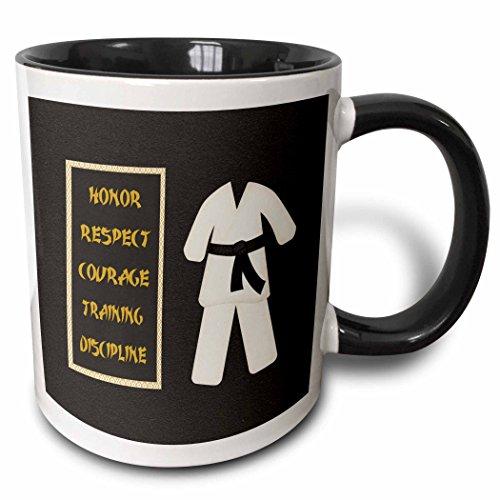 3dRose 180798_4 Karate Karategi Uniform Black Belt Honor Respect Courage Train Discipline Two Tone Mug, 11 oz,
