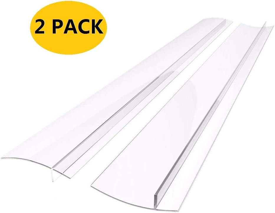 21 inches Silicone Stove Counter Gap Cover (Set of 2) Seals Out Spills Between Counters, Appliances, Dryers, Stoves, Washing Machines and More (Transparent white)
