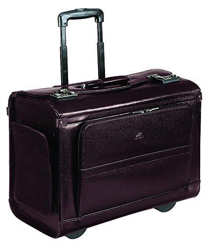 Mancini Wheeled Leather Catalog Case - Burgundy by Mancini Leather Goods