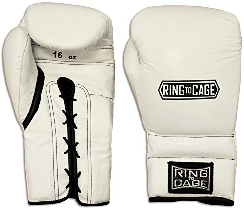Japanese Style Training Boxing Gloves 2.0 - Velcro or Lace-Up - 12oz, 14oz, 16oz, 18oz - 9 Colors to choose (White, 16oz Lace-up)