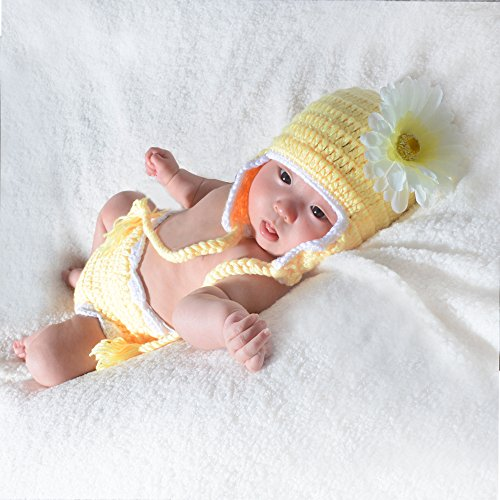 JISEN Newborn Baby Photography Props Sunny Flower Handmade Crochet Knitted Unisex Baby Cap Outfit Photo Props