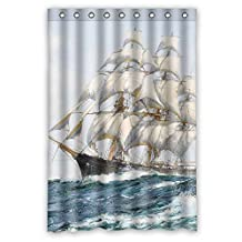 Bigogoshop55 Polyester Bath Curtains Of Navigation Voyage Seafaring Navigate Sailing Boat Ship Vessel Jalor Art Painting For Him Couples Boys Couples Father. Easy Clean Width X Height / 48