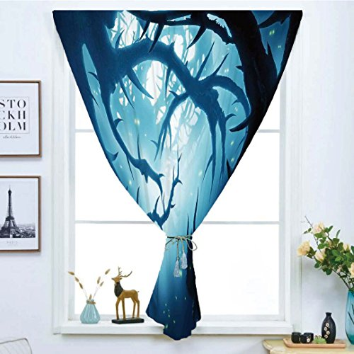 Blackout Window Curtain,Free Punching Magic Stickers Curtain,Mystic House Decor,Animal with Burning Eyes in Dark Forest at Night Horror Halloween Illustration,Navy White,Paste Style,for Living -