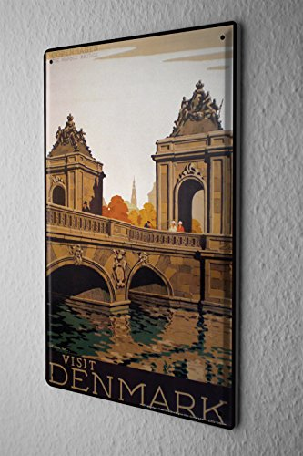Denmark Postcard - Tin Sign World Trip Denmark Bridge River Decorative Wall Plate 8X12